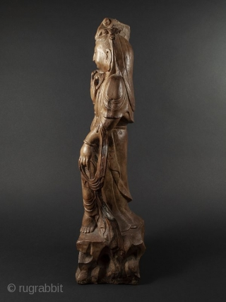 """Chinese Guanyin Statue  Chinese Guanyin statue of a Buddhist Bodhisattva of mercy and compassion. Beautifully rendered with minor losses.   Pvt. Los Angeles Estate   Dates early 20th century  Size H 23 1/2"""" x W  ..."""