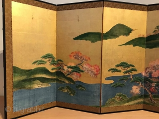 Rare Pair of Antique Japanese Screen - Four Seasons of Ginza  A rare pair of original Japanese six panel screens depicting the four seasons of Ginza. The panels are painted in the traditional  ...