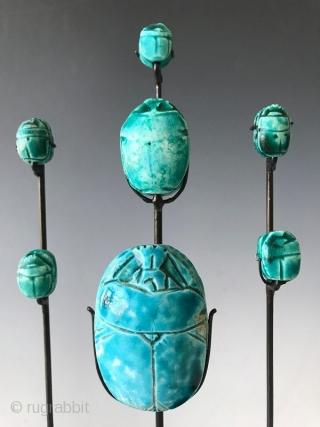 Rare Set of Faience Egyptian Scarab Amulets