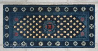 "No.P50 * Chinese Antique ""Footprint of the Frog"" Rug , Age:19/20th Century. Size:54x113cm(21""x44""). Origin:Baotou-Suiyuan. Shape:Rectangle. Background Color:Blues."