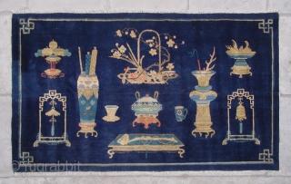 """No.CL047 * Chinese Antique """"Vase Design"""" Rug, Age:Late19th Century.Size:99x166cm(3'3""""x5'5""""). Origin:Baotou-Suiyuan. Shape:Rectangle. Background Color:Blues."""