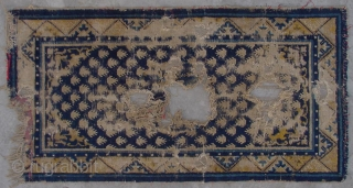 """No.A0058 * Chinese Ningxia """"Footprint of the Frog"""" Rugs(Fragments), Age:18/19th Century.Size:65x128cm(2'2""""x4'2"""").Origin:Ningxia.Shape:Rectangle. Background Color:Blues."""