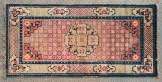 "No.A0048 * Chinese Antique ""Chrysanthemum"" Rug, Origin: Baotou-Suiyuan.Late 19th Century.Size:68x138cm(27""x54"") . Shape: Rectangle .Background Color:Reds."