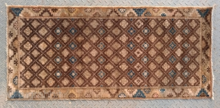 "No.A0047 * Chinese Antique Rug ""Flower Lattice Pattern"", Origin: Baotou-Suiyuan.Late 18-19th Century.Size:66x146cm(26""x57"") . Shape: Rectangle .Background Color:Browns."