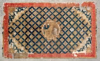 "No.CL050 * Chinese Ningxia ""Fo-Dog"" Temple Rug(Fragments),Age:18/19th Century.Size:110x181cm(3'7""x 5'11"").Origin:Ningxia.Shape:Rectangle. Background Color:Blues."