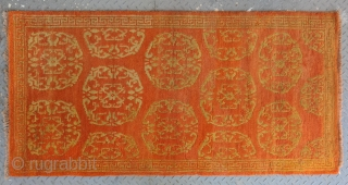 """No.A0002 * Tibetan Antique """" Medallion"""" Rug ,  Size: 86x171cm(2'10"""" x 5'7"""").Origin: Tibetan.Shape: Rectangle ,wool/wool. Background Color: Oranges , This rug features a strict medallion pattern. The medallions are comprised of  ..."""