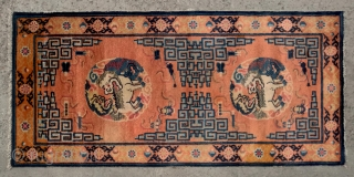 "No.CL053 * Chinese Antique ""Fo Dogs"" Runner Rug from Tibet , Age:19/20th Century.