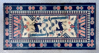 "No.Lu12 * Chinese Antique ""Crane + Deer"" Rug , Age: 19th Century. Size: 87x169cm(2'10"" X 5'7"").Origin: Baotou-Suiyuan.Shape: Rectangle. Background Color: Off-whites,lvory.