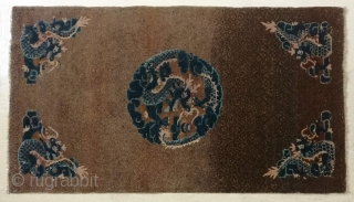 "No.X0001 * Chinese Antique Rugs ""Five Dragons"".Size: 94x164cm (3'1""x5'6"").Age: 19th Century. Origin: Baotou Shape: Rectangle."