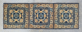 "No.R166 * Chinese Ningxia Temple Mat-Rugs(Runner) from Tibet.  Origin:Ningxia. Age:19th Century. Size:60x174cm(2'x5'9""). Shape:Rectangle. Background Color: Yellow and Blues."