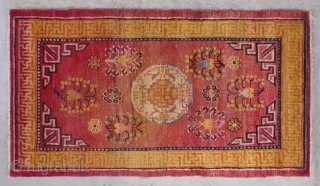 "No.D001 * Chinese Khotan Antique Rug .Origin: Xinjiang-Khotan. Shape: Rectangle.Age: 19th/20th Century.Size:76x137cm(2'6""x4'8"").Background Color:Reds,