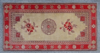 "No.DX051 * Chinese Antique Rug ,19/20th Century.Size:60x117cm(24""x46""),Origin: Baotou-Suiyuan. Shape: Rectangle. Background Color: Off-whites,lvory."