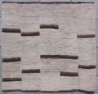 """No.R169 * Tibetan Antique Blanket Rug. Age:Early 20th Century. Size:140x150cm(4'7""""x4'11""""). Origin:Tibet.Shape:Square. Background Color:Whites. Tibetan Blanket rug from Jiangzi area of tibet. Plan nature white background with Tibetan wool weaving design(P'ulo-thigma). The base was  ..."""