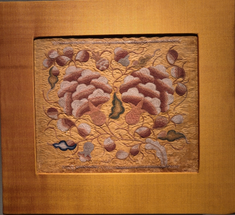rare needleloop embroidery with tree peonies, Chinese, Yuan dynasty (1279-1368) Francesca Galloway