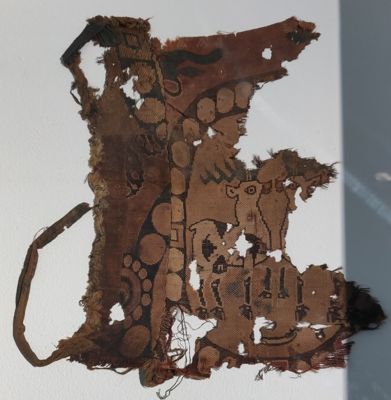 Sogdian textile fragments consisting of three different polychrome silks sewn together, 7th century, Francesca Galloway
