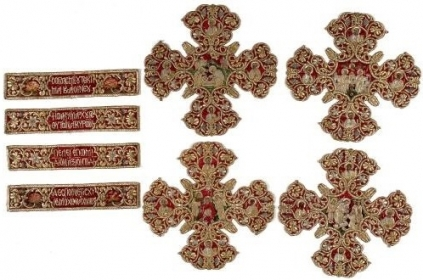 Gold-embroidered appliques from an omophorion of the Metropolitan of Ankara Joachim. The omophorion is the distinctive vestment of the bishop and an insignia of his authority. Α work of the Constantinopolitan workshop of the renowned needlewoman Despoineta. 1695. H. 0,254, W. 0,054 m. (ΓΕ 9356)   image and text copyright Benaki Museum
