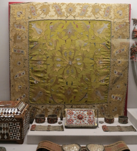 gold thread embroidered silk wrap from the Pontic region, 18th century, Benaki Museum