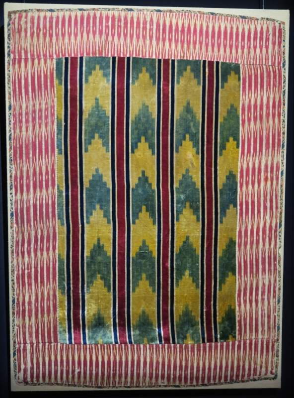 Indian silk velvet ikat panel, 17th century
