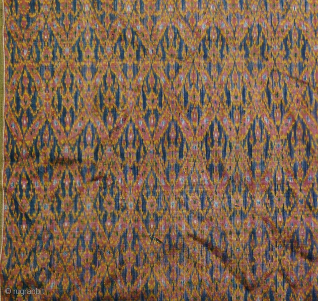 Khmer Sampot Hol: Rare silk Cambodian ikat lower garment L: 288cm/113.in and W: 90cm/35.5in with twill weave; unique to Khmer textiles. This skill died out during the reign of the Khmer Rouge  ...
