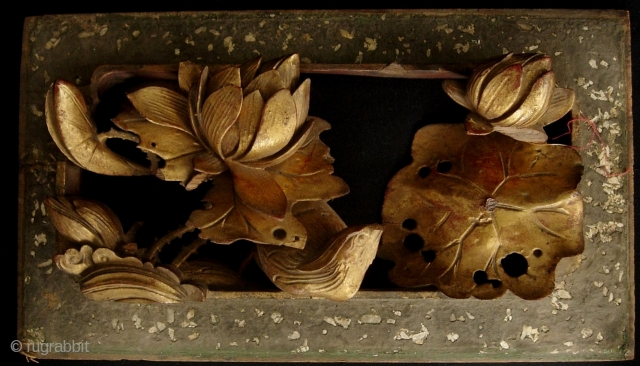 Precious wood carved panel of a bird walking in the lotus. Some damage but still a lovely piece. L: 27.5cm/10.8in and W: 15.5cm/6.1in.     http://www.trocadero.com/stores/abhayaasianart/items/1327536/item1327536store.html