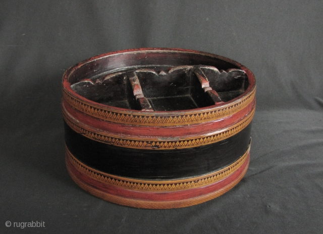 "Khmer Lacquer: Nice old Cambodian ""siri"" box. This piece predates the Khmer Rouge regime and circa 60 or 70 years old. In good condition, there is no significant damage other expected signs  ..."