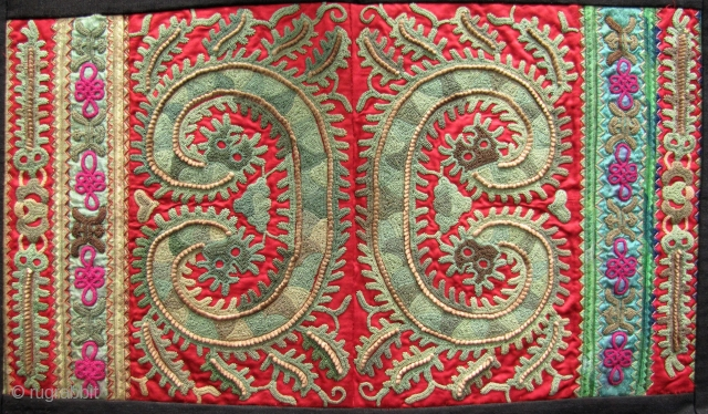 Fabulous pair of green dragon motif sleeve panels from the Taigong Miao community Guizhou, China. These were acquired in Beijing about 15 years ago and are mounted on all handmade indigo and  ...