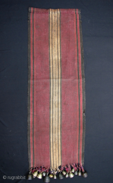"""Fine and rare 19th century, 2 paneled, ceremonial men's """"bell"""" cape (khing ta zhi) from the Southern Chin ethnic group in Burma- this piece would have been worn during religious and planting  ..."""