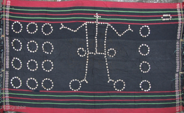 """Naga Blanket with Cowrie Shells:  Fine, old and rare Chang Naga, three paneled body """"prestige"""" cloth with anthropomorphic cowry shell design. The cloth may have been woven by the Meitei of the  ..."""
