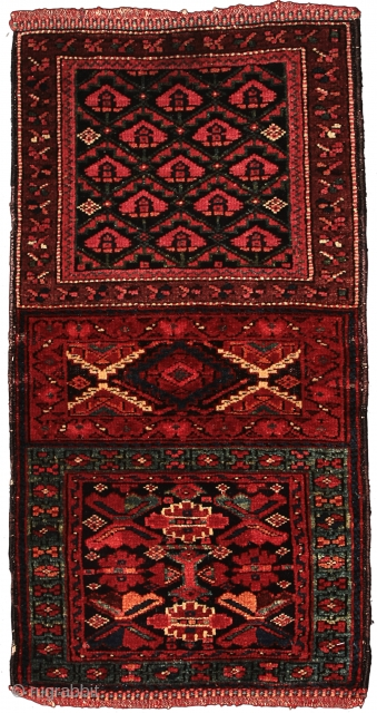Pile double khorjin face, Sanjabi Kurds, Northwest Persia, Circa 1880, 75 x 38 cm (29.5 x 15 in.) 