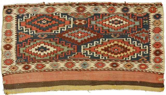 Sumak mafrash front panel, Shahsavan Confederacy , Boz Qush mountains, Hashtrud-Miyaneh region , Northwest Persia, Circa 1870, 54 x 98 cm (21.5 x 38.5 in.) 