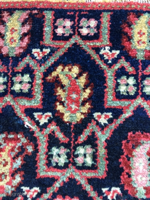 Ancient NW Persian bagface. Wool on homespun cotton. Oblong size and subject (boteh in tulip shaped 'case') would suggest Afshar, as does the cotton foundation, but neither the wool, the colors, the  ...
