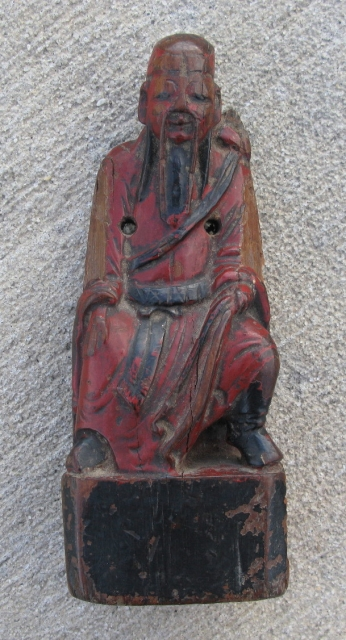 """Antique Chinese devotional figure, """"idol"""", hand carved wood and lacquer, the main leader of the Toaist 8 immortals ( Doaist ), Lu Dongbin with sword and flywhisk, dressed in pre-Ching Dynasty robes,  ..."""