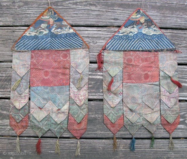 Antique Chinese textiles, kossu, recycled fragments made into 2 Buddhist Temple banners for the Tibetan market, 19thC, the apex of each banner is made from a Chinese rank badge fragment, hand woven  ...