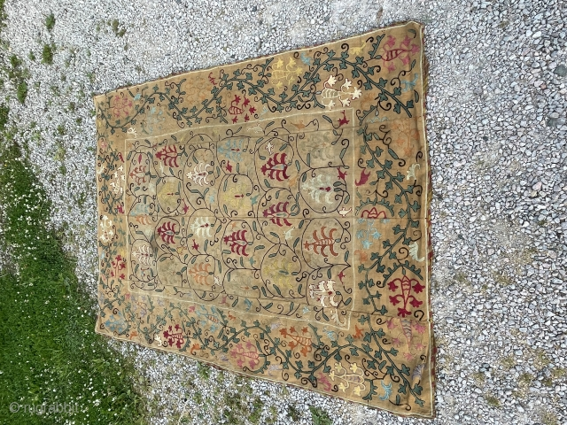 Suzani in nim format. In good condition. Darker backing cloth. Subtle colours and design.