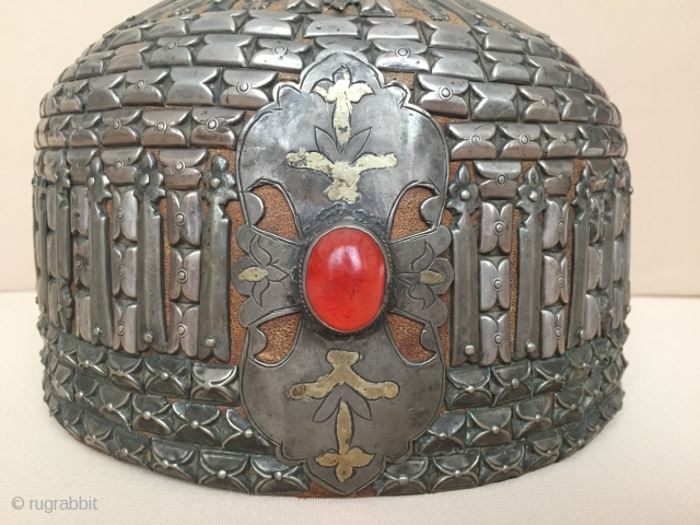 Central-Asia Turkmen-Yomud Antique Ethnic Tribal Silver Collector Hat with old leather fire gilded with cornalian Excellent condition ! Circa-1900 Height : 18cm x Circumference : 62.5cm Thank you for visiting my rugrabbit  ...
