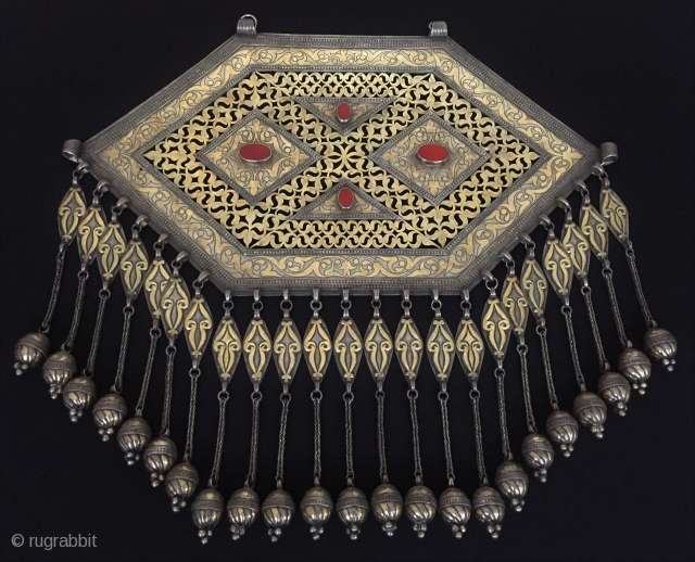 Central-Asia Large A beautifull ethnic tribal Turkmen silver necklace (Gonchuk) Fine gilded with cornalian and open work İskendery design Collector piece. Rare turkmen jewelry Great condition ! Size - Height : 41.5  ...