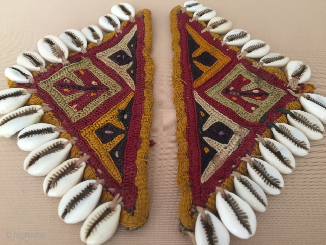Central - Asian Turkmen pair of Lakai talismanic embroidery silk amulets. Circa - 1900 Size - 9 cm x 18 cm Thank you for visiting my Rugrabbit store .