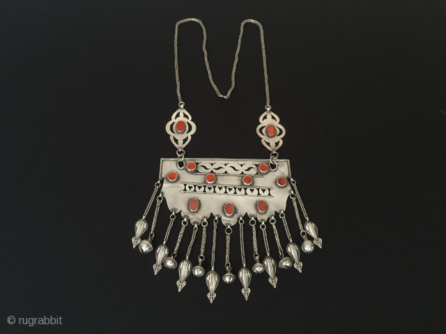 Central-Asia Turkmen-Ersary antique tribal silver necklace with cornalian original ethnic traditional jewelry Circa 1900s Height'57'-Width'15.5'cm-Weight:159gr Thank you for visiting my rugrabbit store!
