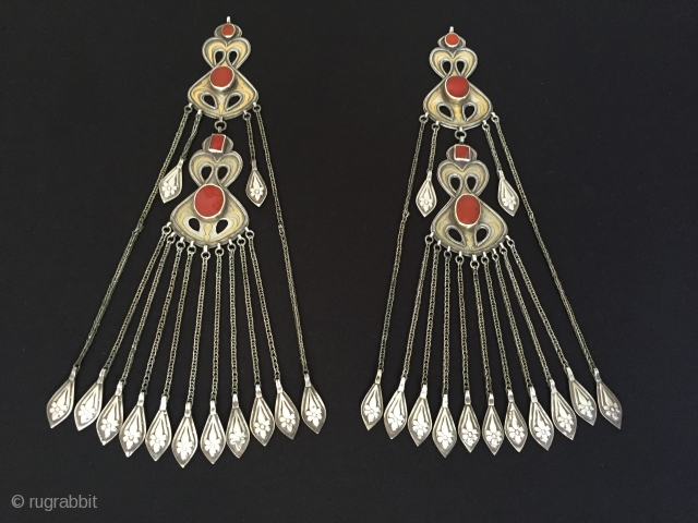 Central-Asia Turkmenistan tribal silver had dress jewelry with cornalian fire gilded iskendery working beautifull ethnic traditional turkmen jewelry excellent condition Circa 1900s Height '29'-Width '4.8'cm-Weight : 178 gr Thank you for visiting  ...