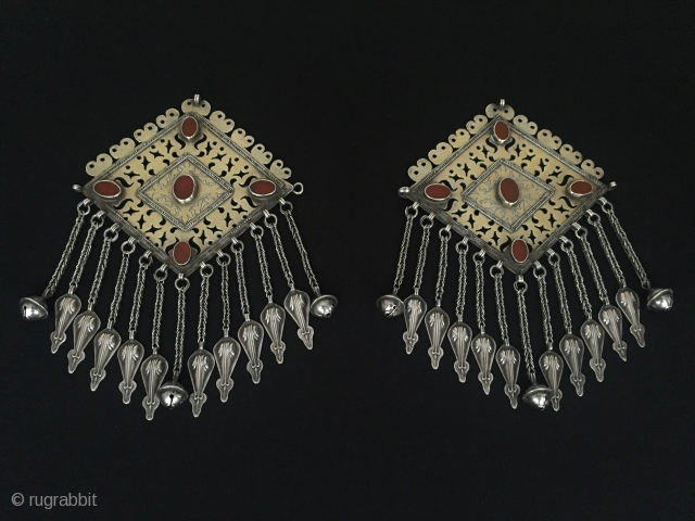 Central-Asia Turkmenistan Tekke antique silver (donbaghcik) pair used on the front and back of the dress fire gilded with cornalian original ethnic turkmen jewelry Circa-1900 Height'18'-Width'12.5'cm-Weight:248gr Thank you for visiting my rugrabbit  ...