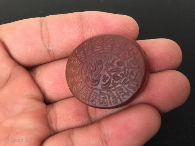 Afghanistan original handwriting cornalian stone for dua good luck islamic writing great condition ! Circa - 1920-50 Size - ''3.1 cm x 2.3 cm'' - Circumference : 10.5 cm - Thickniss :  ...