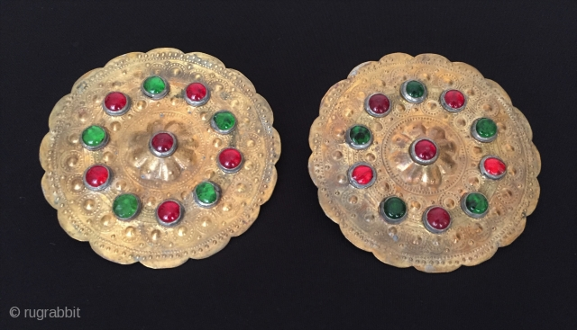 Central-Asia Turkmen - yamud pair of metal (Alphaka) button - pendant gold washed with glass Fine condition ! Circa - 1940 - 60 Size - '' 10 cm x 10 cm ''  ...