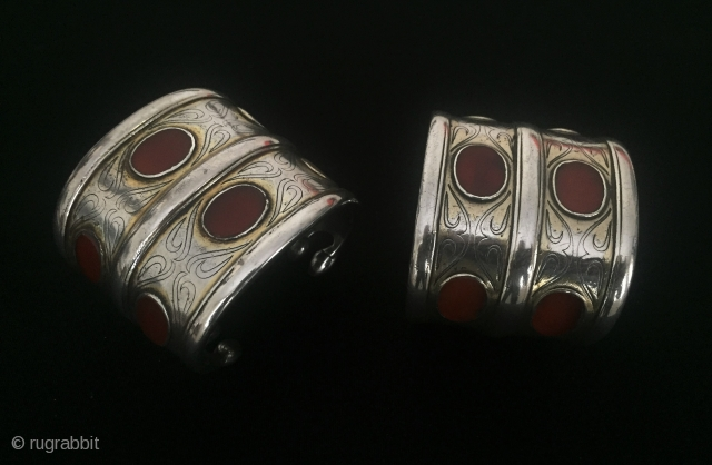 Central-Asia Ethnic Turkmen antique traditional pair of silver bracelets (Arm-band) fire gilded with cornalian This is Turkmen collector jewelry - jewellery Excellent and Great condition ! Circa - 1900 or earlier Size  ...