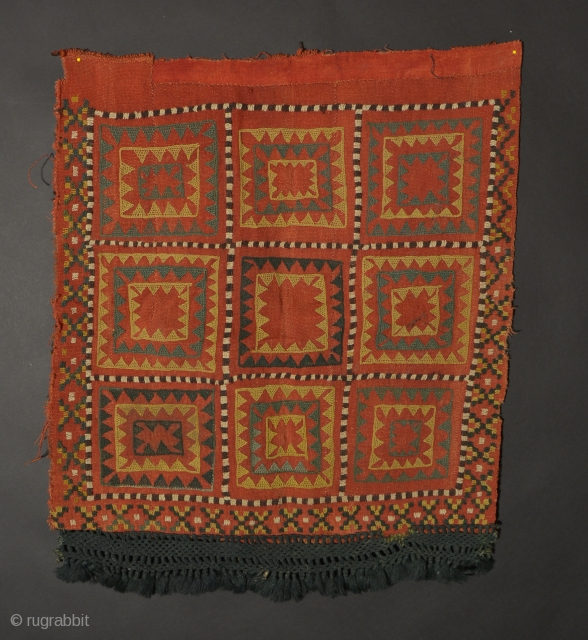 uzbek 33 Central Asian Kungrat Embroidery, Wool, Late 19th/Early 20th Century, 23 x 21.5