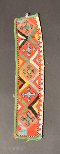 Central Asian Coat Trim, Silk/Cotton, Early 20th Century, 14 x 3.1 inches