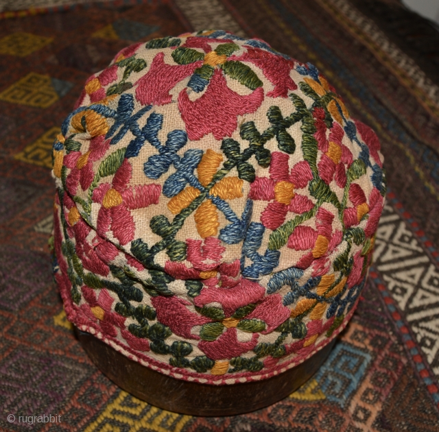 Central Asian Hat, Silk/Cotton, Late 19th Century. 4.25 x 7 inches.  Odd thing-it appears to have been reconstructed at some point.  Whether it was from a larger hat or old  ...