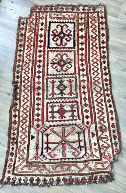 Rare antique Kirghiz Eshik Tysh (door entry carpet) size 61 I x 33 i Late 19 c.  All wool,  browns warp and weft are  undyed natural brown wool. Slight colour  ...