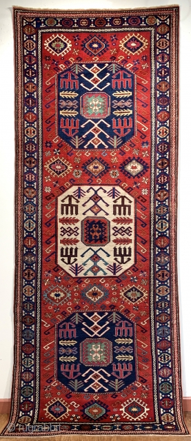 Outstanding antique chajli rug pre 1880 wonderful natural colours and wool  Size 292 x 112 very fine weave like a shirvan.   Outer guard on each end is rewoven museum quality  ...