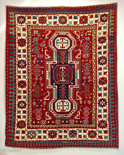 Antique kazak ca 1880 great wool and colour ends and selvedges tidied up invisibly  Otherwise all original thick pile size is 74 x 58 inches a super piece