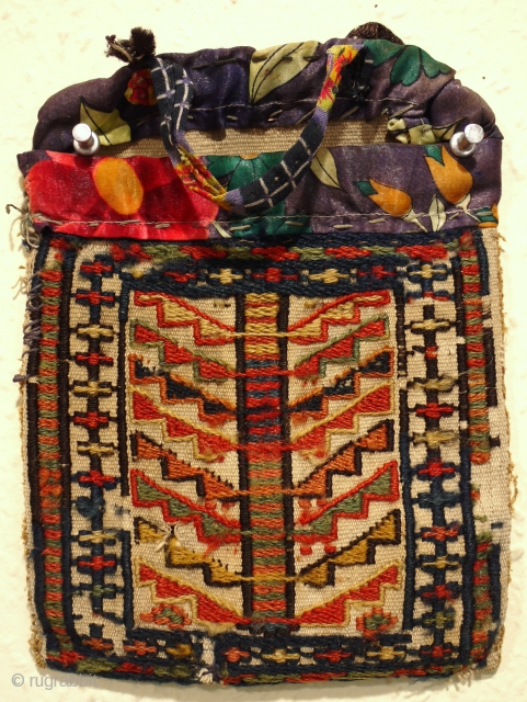 super antique Shasavan chanteh bag late 19c . The nicest one of these i have had design and colour, most seem to be lacking something but this one has the x factor.  ...